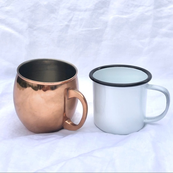 Coffee Mug. White Enamel and Copper Plated